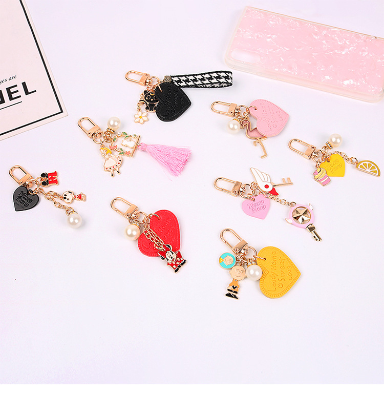 Sweet and lovely young girl heart Pearl Tassel keyring small jewelry keychain pendant  bag hang accessories