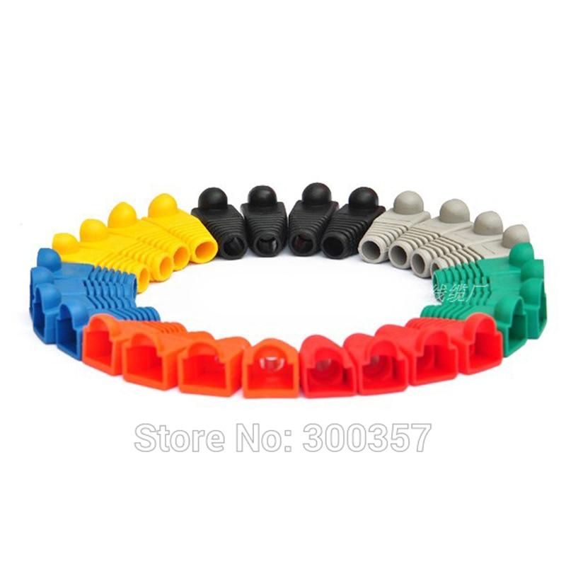 30pcs/lot Network Jack Pvc Plug Of  RJ45 Connectors Rj45 Boots Caps Cat5e Cat6 10colors Or Each Color 20pcs