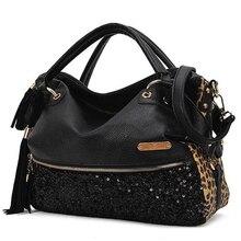 2016 neue Marke Frauen Handtasche Luxus Leopard leder Große Big Bag Schulter Hand Messenger Taschen Trage Quaste bolsa feminina FR051