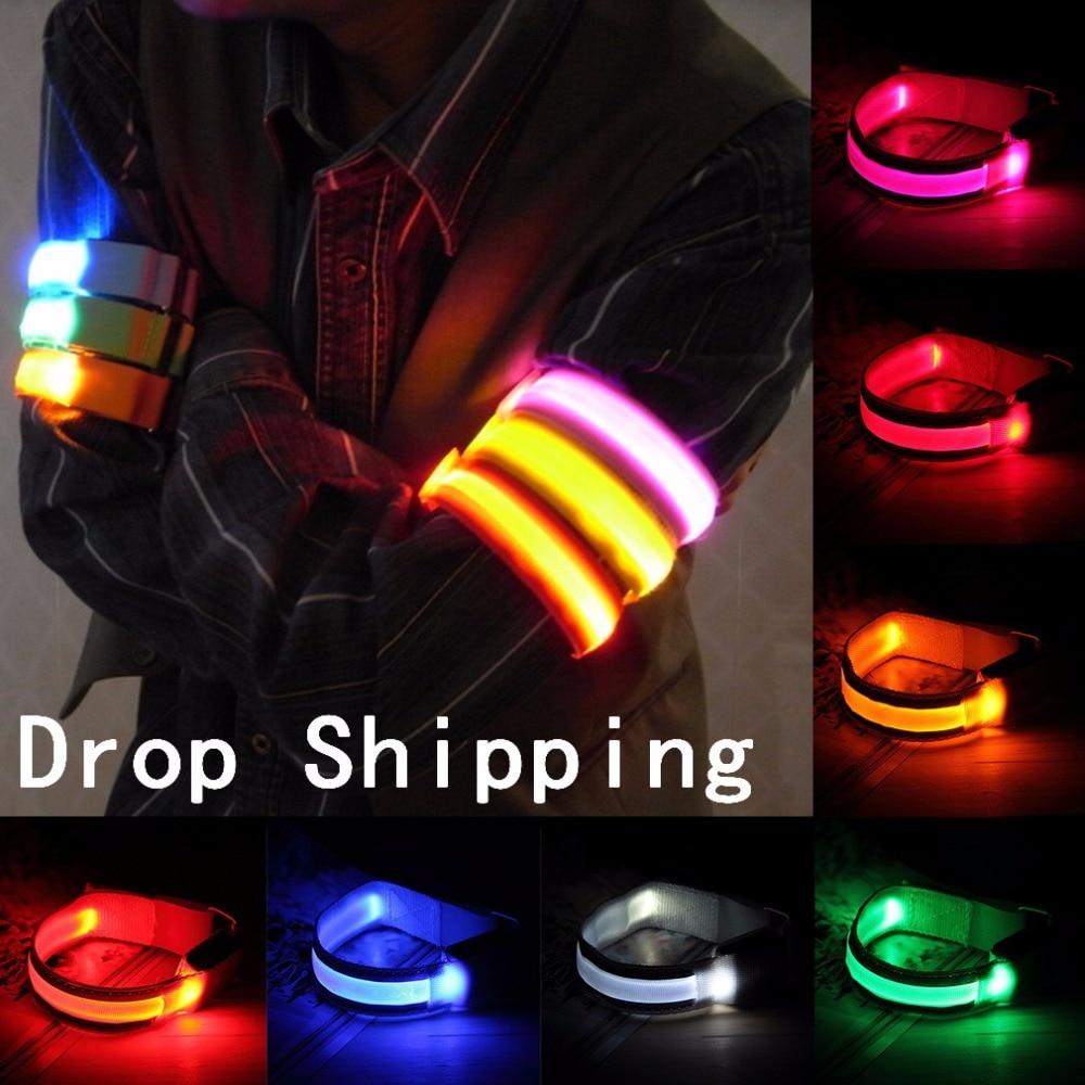 TSAI Arm Warmer Belt Bike LED Armband LED Safety Sports Reflective Belt Strap for Cycling/Skating/Party/Shooting 7 Colors