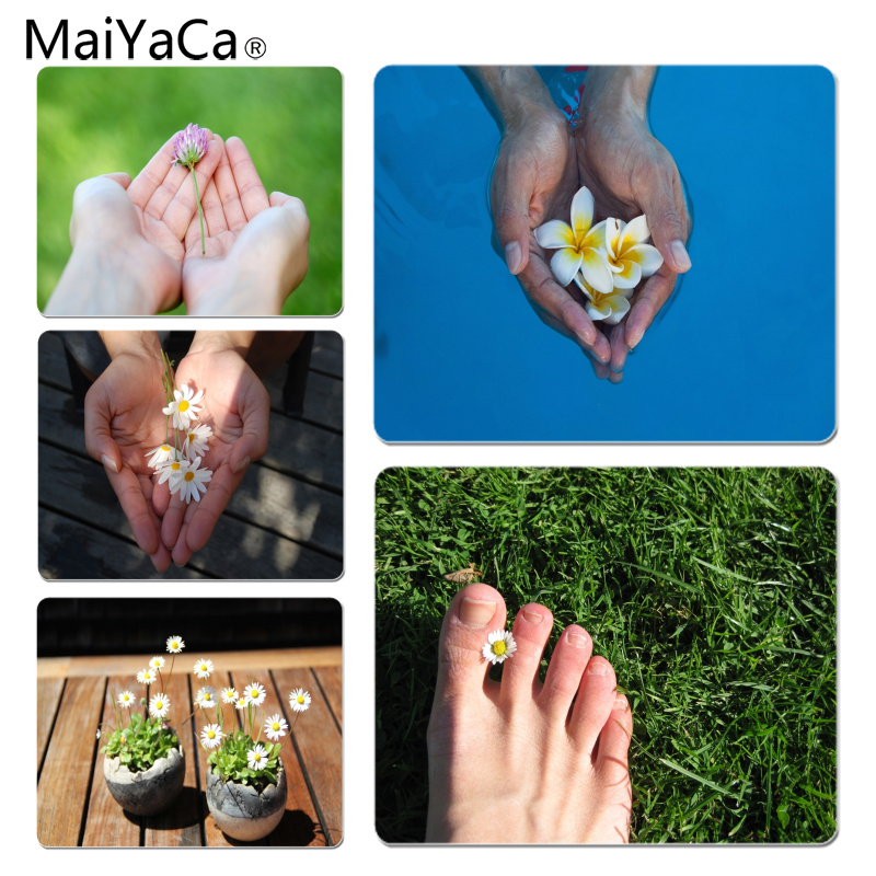 MaiYaCa White flowers in hands Customized laptop Gaming mouse pad Size for 18x22x0.2cm Gaming Mousepads