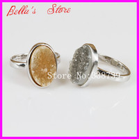 1pc Nature Druzy Gems Agate Ring 925 Sterling Silver Ring Best Price Natural Druzy Crystal Quartz