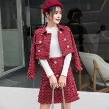 HAMALIEL комплект из двух предметов для женщин зима красный плед шерстяной твид кисточкой Короткое двубортное пальто+ модная бахрома юбка карандаш костюмы