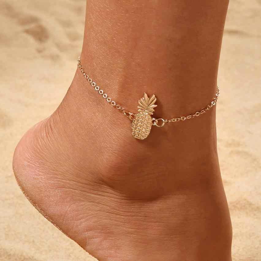 ดีโซ่สับปะรดสร้อยข้อเท้าสร้อยข้อมือเครื่องประดับชายหาด Anklets ส่วนลูกปัด Boho เท้า Gothic โบฮีเมียนเครื่องประดับสร้อยข้อมือ