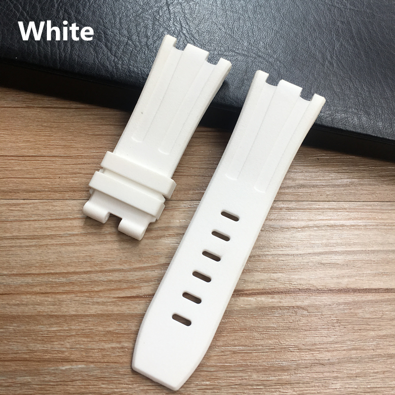 Image 3 - 28mm Soft Black White Green Yellow Orange Gray Blue Red Silicone Rubber Watch Strap Bracelet For AP ROYAL OAK Watchband BeltWatchbands   -