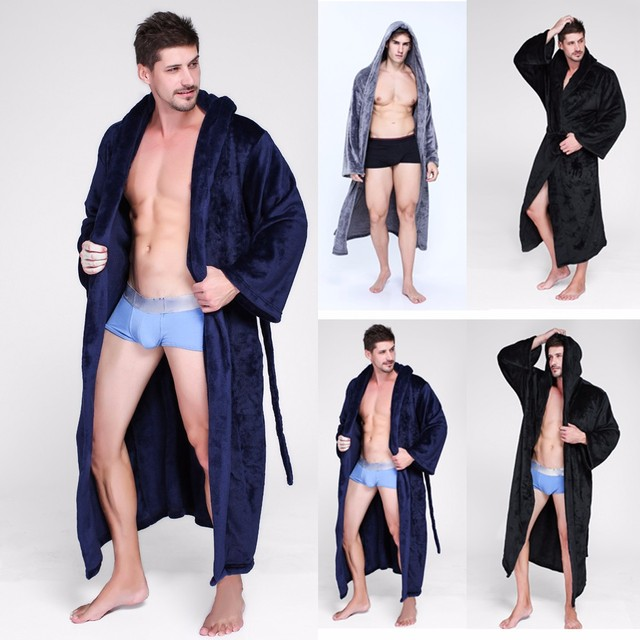 Модные Повседневное Для мужчин s халаты фланель халат с капюшоном с длинным рукавом пара Для мужчин женщина халат плюшевые шаль кимоно теплый мужской Халат пальто