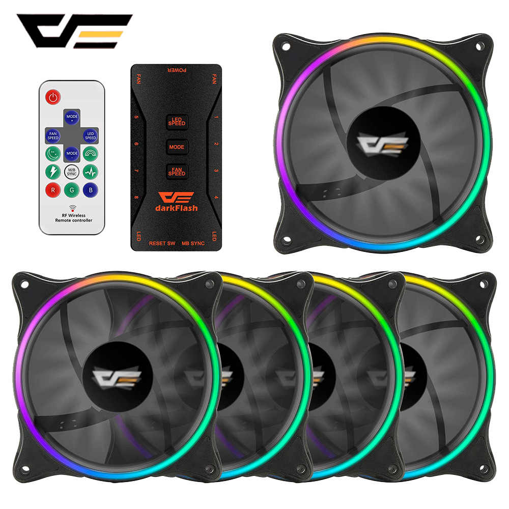 DarkFlash LED Fall Fan 120mm 3 P-5 v Aura Sync PC Fällen CPU Kühler Lüfter Address ruhig Remote RGB Computer Fall Fan