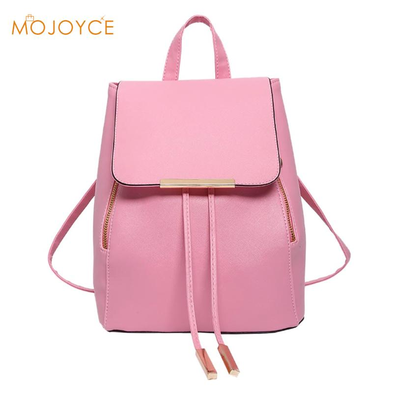 Women Backpack High Quality PU Leather Mochila Escolar School Bags For Teenagers Girls Leisure Backpacks Candy Color 2017 Bolsa color women backpack travel bow satchel rucksack pu leather mochila escolar school bags for teenagers girls top handle backpacks
