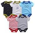 5шт/уп, высокое качество, детский комбинезон с коротким рукавом из хлопка, с o-образным вырезом 0-12м, одежда для  новорожденных мальчиков и девочек, комплекты Детской одежды