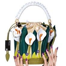 PACENTO Luxury brand Women Handbags Shoulder Bucket Italy Borse Braccialini Lilies Flower Messenger bag Cross Body Sacs a main