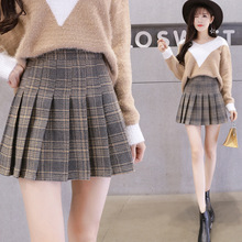 Plaid Skirts For Women 2018 Autumn Winter High Waist Ladies Pleated Check  Mini Short Wool   24fe9aca3