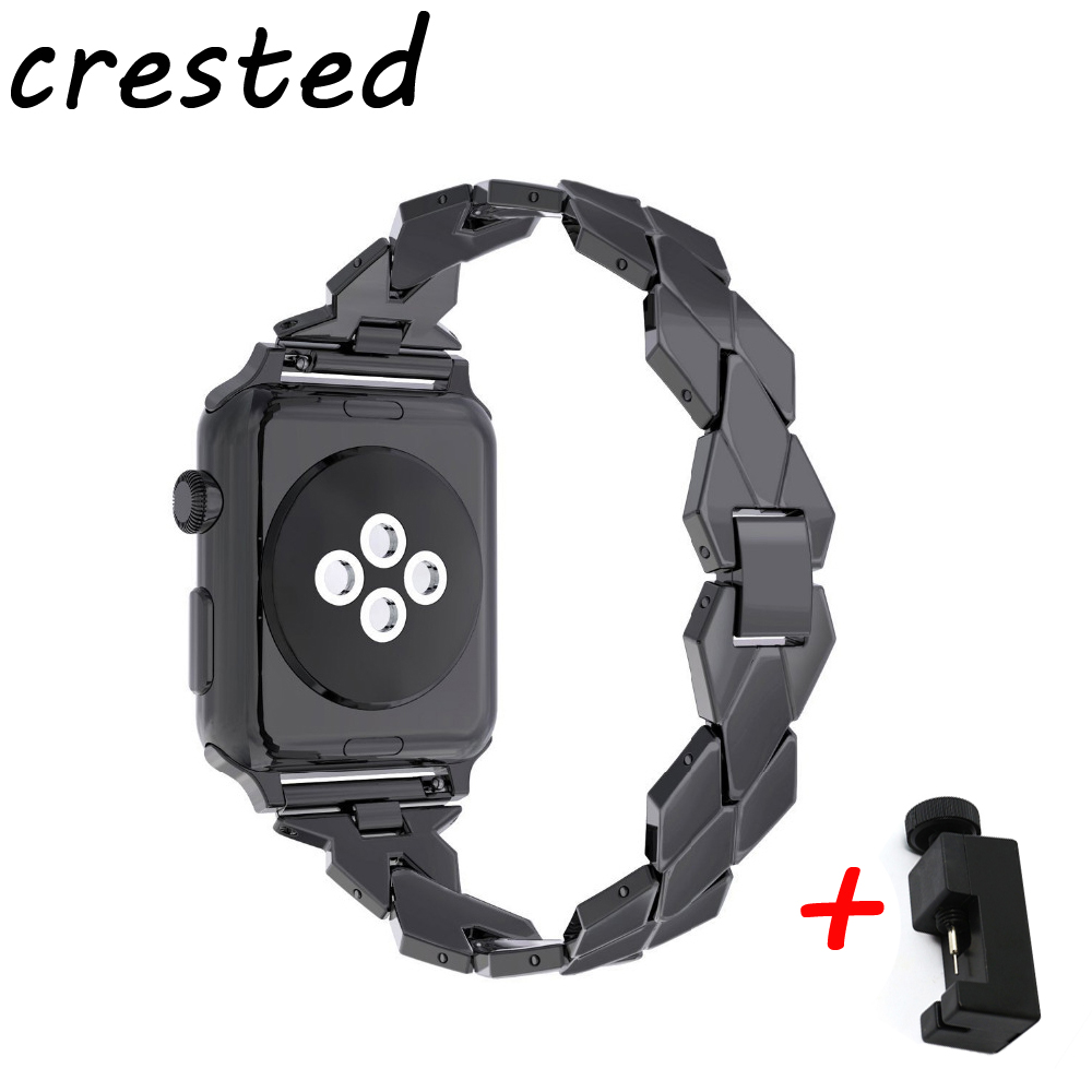 CRESTED stainless teel watchstrap for apple watch iwatch 42mm/38mm series 3/2/1 bracelet wrist watcband replacement watch belt