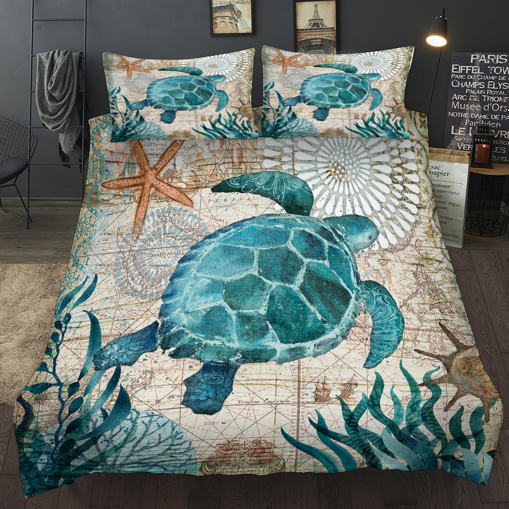 New Lovely Bay Turtle Marine Sea Bedding Set Adult/kid Girls Duvet Cover Bed Sheet Tortoise Full Queen Twin Bed Linen