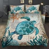 New Lovely Bay Turtle Marine Sea Bedding Set Adult/kid Girls Duvet Cover Bed Sheet Tortoise Full Queen Twin Bed Linen