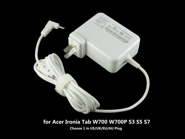 65 Вт ноутбук адаптер ПЕРЕМЕННОГО ТОКА для Acer Ironia Tab W700 W700P S3 S5 S7 портативный США/ВЕЛИКОБРИТАНИЯ/ЕС/АС Plug 19 В 3.42A