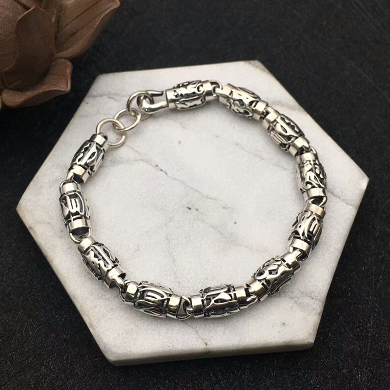 Solid Silver 925 8mm Thick Chain Bracelet Men Vintage 925 Sterling Silver Men Luck Jewelry Om Mani Padme Hum Letters Band Gifts