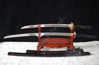 HIGH QUALITY HAND FORGED JAPANESE SAMURAI SWORD SET ( KATANA + WAKIZASHI ) FULL TANG CAN CUT BAMBOO TREE
