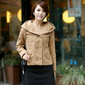 2014 Korean autumn and winter with double breasted jacket cap new woolen coat girl