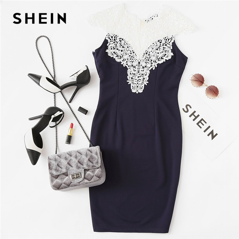65ed99c369 Aliexpress.com : Buy SHEIN Women Party Dress Navy Floral Lace Yoke Form  Fitting Dress Contrast Lace Color Block Sleeveless Sheath Dress from  Reliable sheath ...