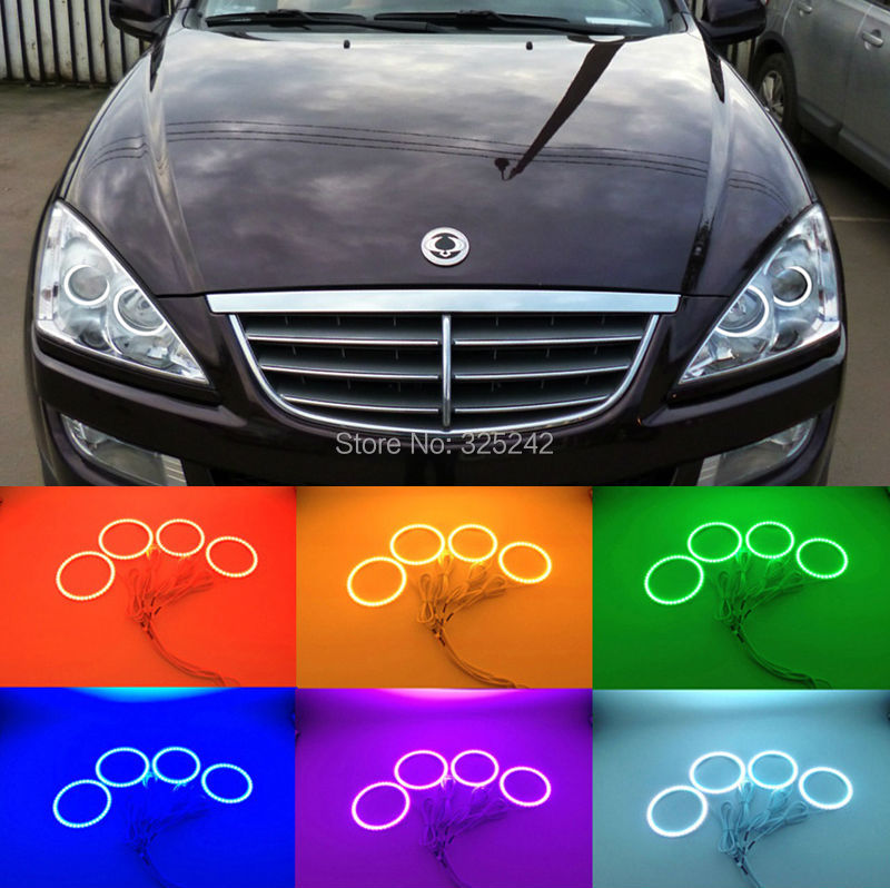 ФОТО For Ssangyong Kyron 2005-2014 Excellent Angel Eyes kit Multi-Color Ultra bright RGB LED C Halo Rings