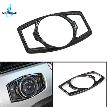 Carbon Black Head Light Lamp Switch Button Cover Frame Interior Trim For Ford Mustang 2015-2018 Car Detector Garnish Sticker / image