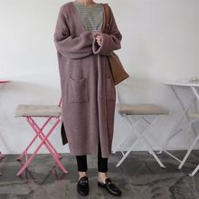 2019 guoqiu sweater cardigan in female students long edge long-sleeved languid is lazy wind contracted sweater coat(China)