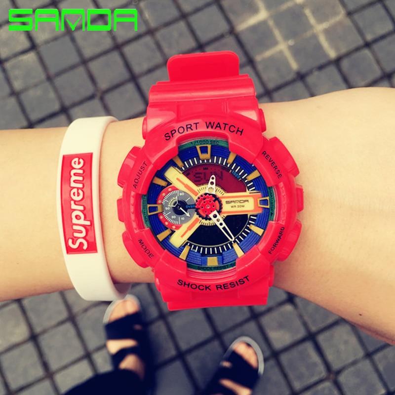 Sanda nueva moda reloj impermeable LED deportes Militar relojes shock hombres  reloj analógico de cuarzo digital Relogio Masculino 5b9eeb7b2444