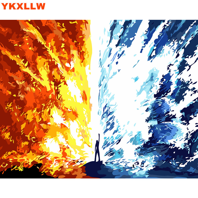 Us 16 6 Ice And Fire Picture Painting By Numbers Kits Abstract Paints Number Oil Painting Drawing Pictures On Canvas Living Room Decor In Painting