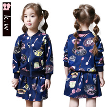 Brand KW 2016 Autumn Girls Print Clothing Sets Long Sleeve Coat+Skirt Fashion Child Clothes Suit for Girls Kids Graffiti Sets
