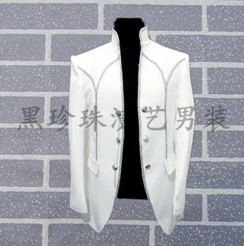 White Men Suits Designs Masculino Homme Stage Costumes For Singers Men Blazer Dance Clothes Jacket Style Dress Stand Collar