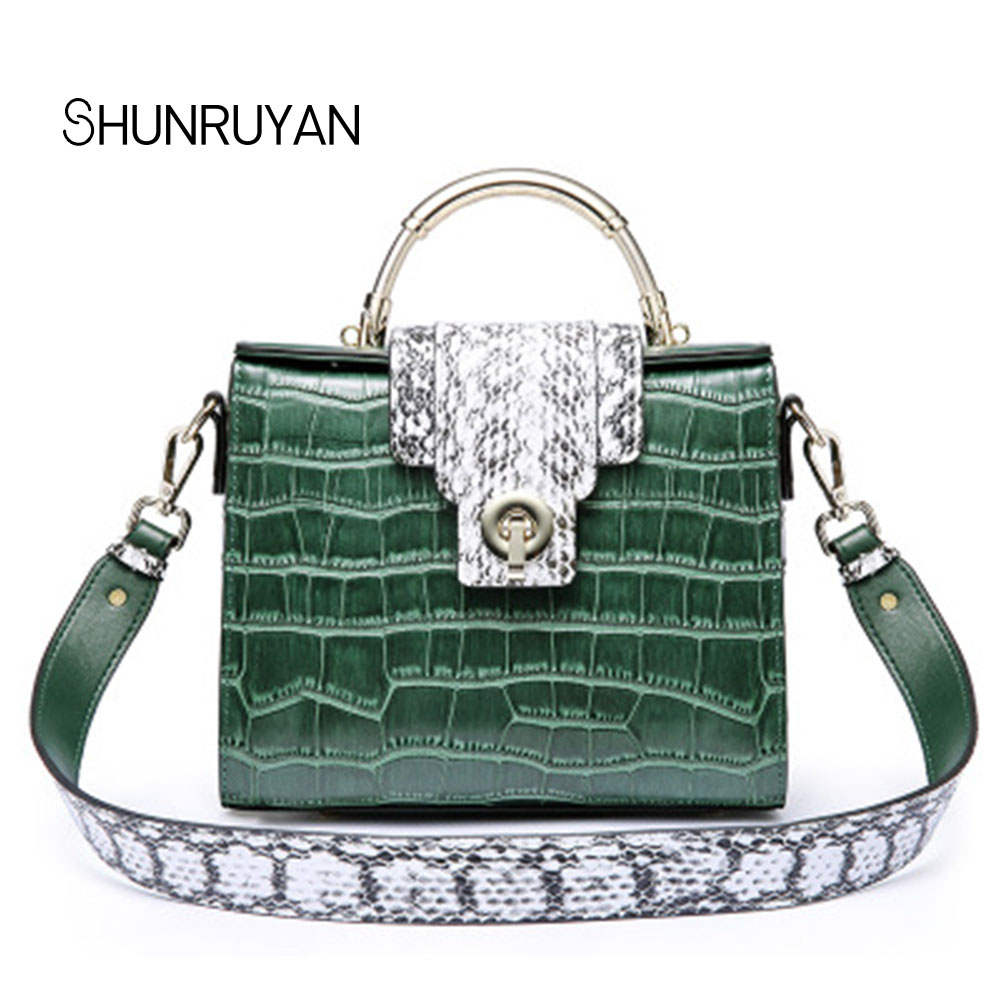 SHUNRUYAN Delle Donne per il Sacchetto di Marca di Lusso di Disegno Del Cuoio Genuino Elegante Borsa Delle Signore Hasp Serpentina Dell'annata di Modo del Sacchetto Del Vestito