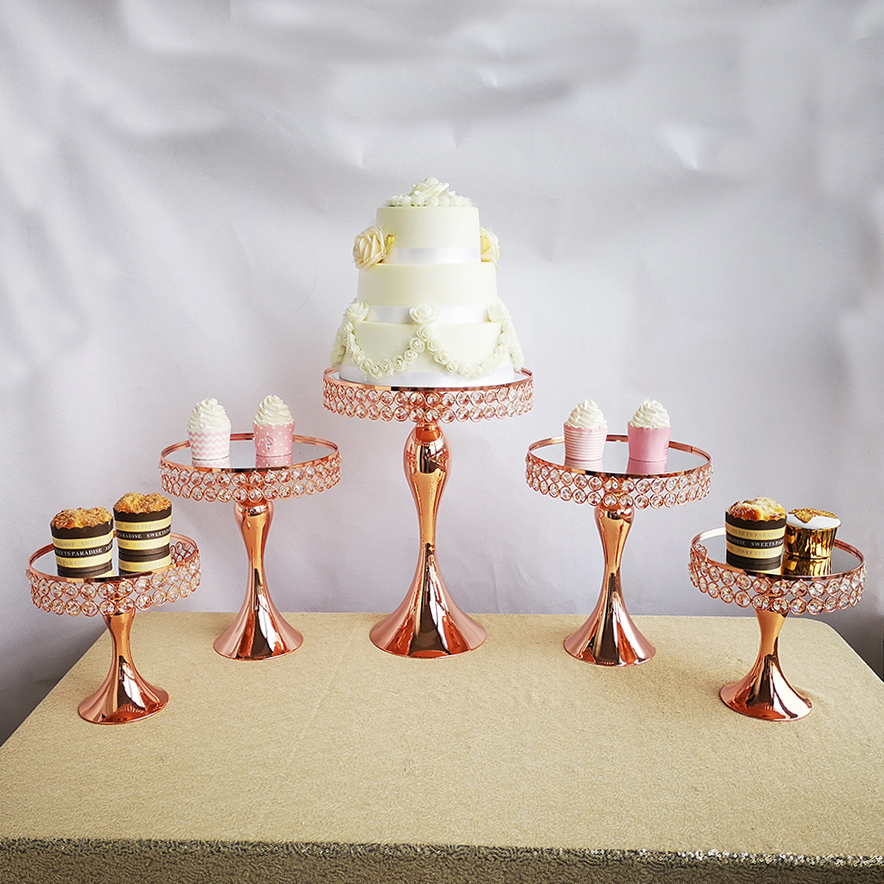 Ev ve Bahçe'ten Standlar'de 5 adet/takım gül altın kek standı ayna cupcake düğün Masaüstü dekorasy'da  Grup 1