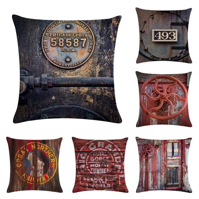 Retro Steam Train Designs Industrial Revolution Cotton Linen Car Seat Cushion Cover massage pillow Waist pillow cojines 493(China)