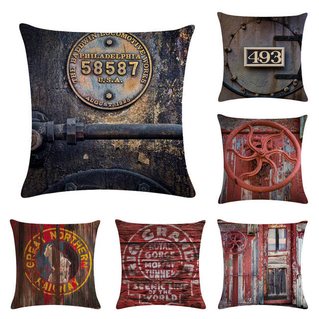 Retro Steam Train Style Cotton Cushion Cover