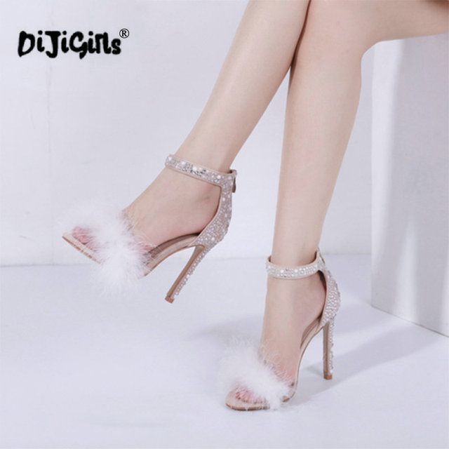 2213ac7fdd7 dropship Feather Crystal High Heel Sandals Fancy Glittering Crystal Ankle  Wrap Stiletto Heel Dress Sandals Wedding Shoes Apricot