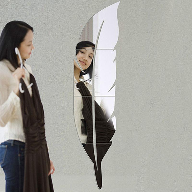 la nueva novedad de la pluma de la forma de acrlico espejo etiqueta de la pared