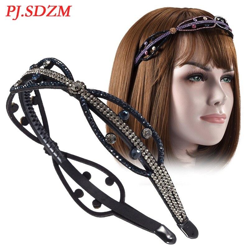 PJ. SDZM 5 pcs/lot Femmes Cheveux Accessoires Strass Non-slip Feuille Bandeau Dents De Mode Tendance Fille Décoration De Cheveux Chic Cadeau
