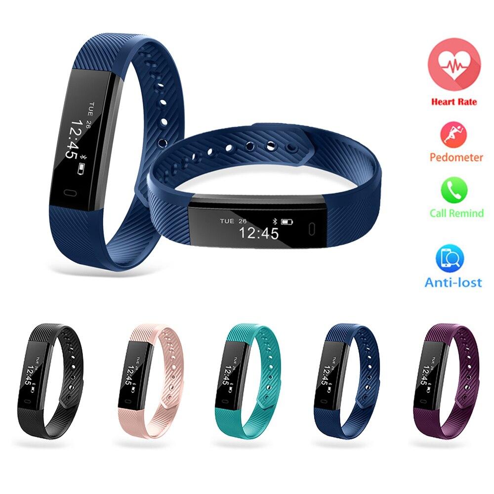 ID115 Smartband Bluetooth Fitness Tracker Smart Bracelet Activity Wristband Pedometer OLED Touch Screen Waterproof pk mi band