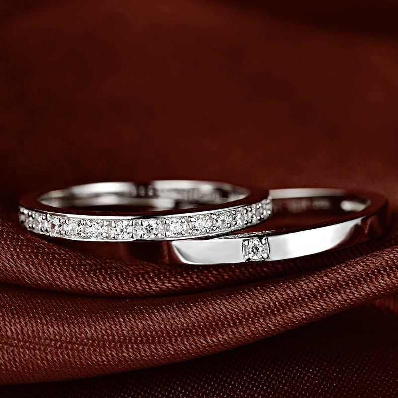 DOYUBOแท้100%ของแข็งคู่เงินแหวนสำหรับผู้หญิงและผู้ชายคลาสสิกสีขาวประดับเพชรแหวนเงินสเตอร์ลิงเครื่องประดับVB041