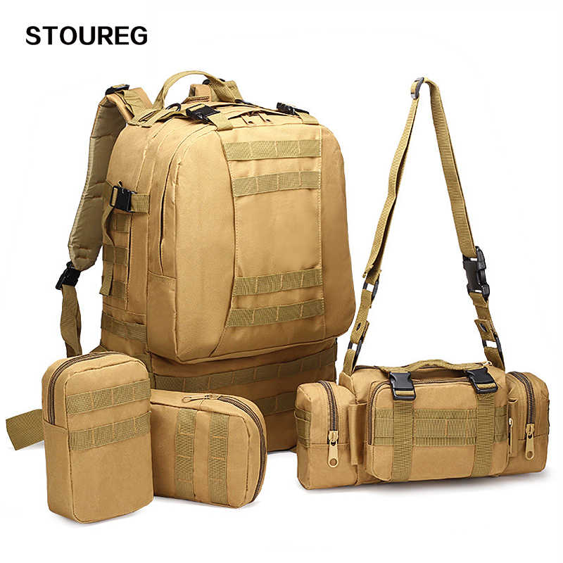 4 In 1 Multifunctional Military Tactical Backpack 50L 600D Oxford Camouflage Hiking Backpack Waterproof  Sport Climbing Bag