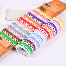 2Yards/Roll 18MM Colorful Cloth Art Double Color Lace Decorative Adhesive Tape DIY handicraft Photoalbum Scrapbooking Sticker(China)