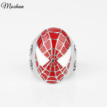 MQCHUN Marvel Comics SPIDER-MAN Red Enamel Ring Super Hero Spiderman Ring For Men Women Fans Gift Size 6-12