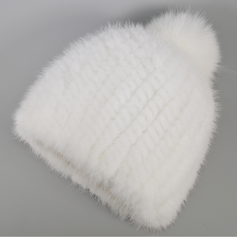 Image 2 - 2019 New Lovely Real Mink Fur Hat Women Winter Knitted Real Mink Fur Beanies Hats Fox Fur Pom Poms Thick Warm Real Mink Fur Cap-in Women's Skullies & Beanies from Apparel Accessories on AliExpress