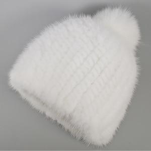 Image 2 - 2020 新ラブリーリアルミンクの毛皮の帽子女性の冬のニット本物のミンクの毛皮ビーニー帽子キツネの毛皮のポンポンpoms厚い暖かいリアルミンクの毛皮帽
