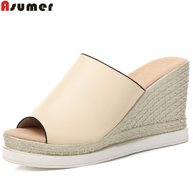 ASUMER 2018 fashion summer shoes woman peep toe shallow casual platform wedges sandals high quality elegant high heels shoes hzxinlive elegant summer sandals women high heel wedges shoes woman round toe roman sandals ladies footwear female casual shoes