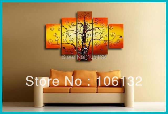 Framed 5 Panel Huge High End Stunning Money Tree Chinese Feng Shui ...