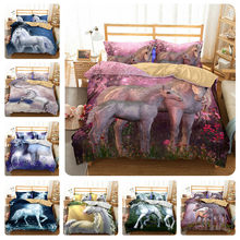 3d Unicorn Bedding Set Queen Size Watercolor Print Bed Set Kids Girl Flower Duvet Cover Colored Dreamlike Bedlinen(China)
