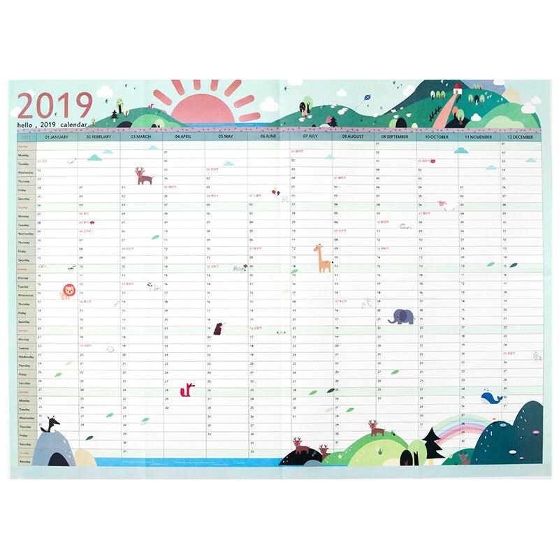 Office & School Supplies 2019 Jährlich Mit Aufkleber Punkte Poster Stil Veranstalter Studie Agenda Papier Jährliche Zeitplan Wand Planer Kalender Schreibwaren Büro Kalender, Planer Und Karten
