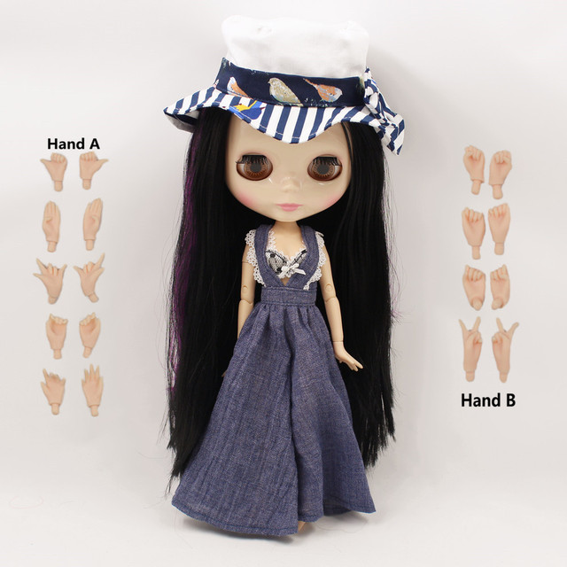 TBL Neo Blythe Doll Purple Black Side Part Hair Jointed Body