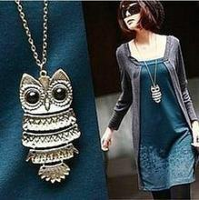 F&U Top Sale Owl Fashion Jewelry Korean Style Retro Metal Owl Necklace Long Sweater Chain Punk European and American Style(China)